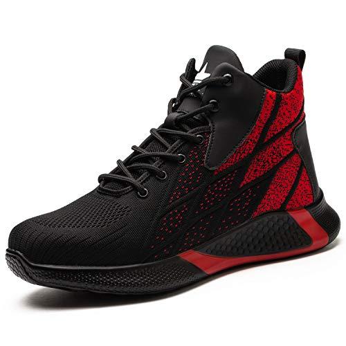 [JUDBF] 安全靴 ハイカット 作業靴 スニーカー 鋼先芯 あんぜん靴 軽量 通気性 耐摩耗 防刺 耐滑 衝撃吸収 工事現場 靴 おしゃれワークシューズ セーフティーシューズ8081Red/44