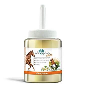 Ida Plus - Huile de sabot à base d'herbes avec pinceau 500 ml - Soin sabot pour chevaux et poneys - Huile de soin au laurier pour une croissance optimale du sabot, des sabots forts et un jet puissant