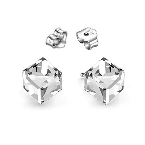 Swarovski® Ohrringe für Damen klare Kristalle Würfel 925 Sterling Silber