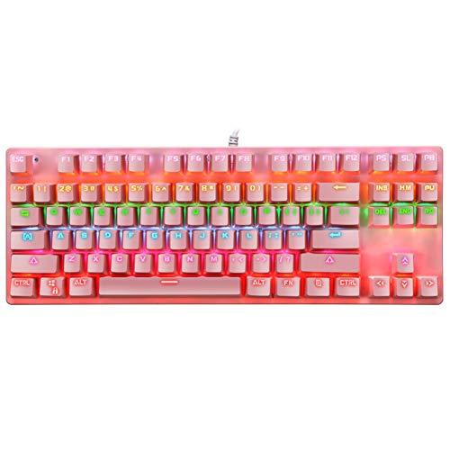 Margot74 Clavier mécanique, 87 touches, clavier de jeu complet anti-ghosting, rétroéclairé USB, clavier mécanique filaire pour joueurs et dactylographes (rose)