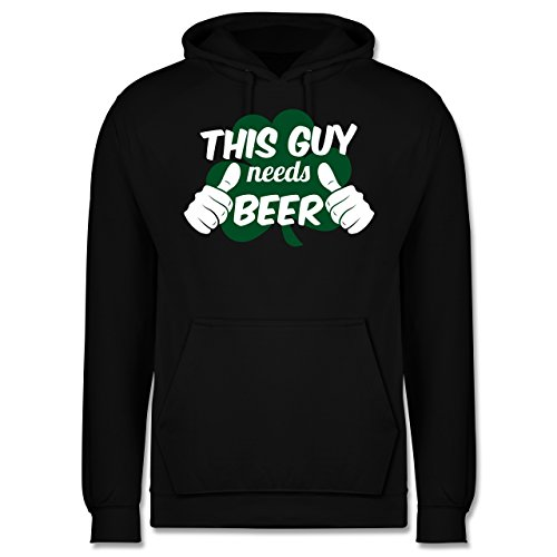 St. Patricks Day - This Guy Needs Beer Kleeblatt - XS - Schwarz - Bier - JH001 - Herren Hoodie und Kapuzenpullover für Männer