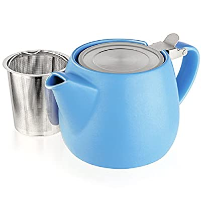 Tealyra - Pluto Porcelain Small Teapot Blue - 18.2-ounce (1-2 cups) - Matte Finish - Stainless Steel Lid and Extra-Fine Infuser To Brew Loose Leaf Tea - 540ml