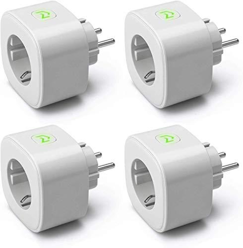 Enchufe Inteligente, Mide el Consumo 16A 3680W Wi-Fi Smart Plug con Control Remoto Meross App, Compatible con Alexa, Google Assistant y SmartThings, Paquete de 4. Color Gris. MSS310