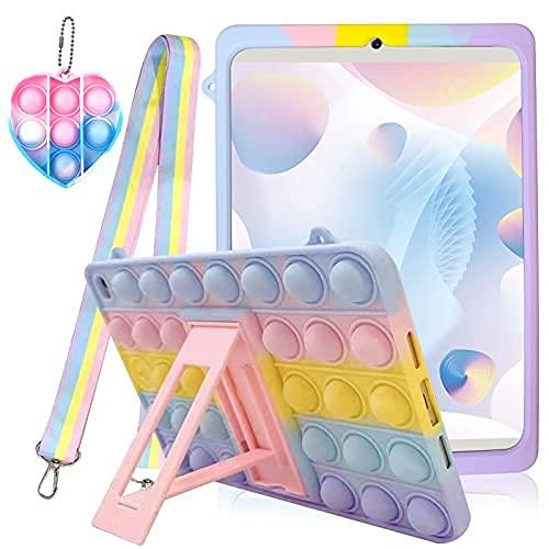 Push Popper It - Funda para iPad con juguetes antiestrés Popping It para iPad con soporte antideslizante a prueba de golpes, funda de protección de cuerpo completo con soporte plegable y cordón