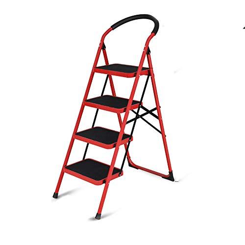 3 Peldaños Plegable Escalera De Mano Hogar 2 4 5 Peldaños Aleación De Aluminio Escalera Interior Y Exterior Estante Soporte De Flores Soporte De Carga 150 Kg 4 Pasos En Rojo