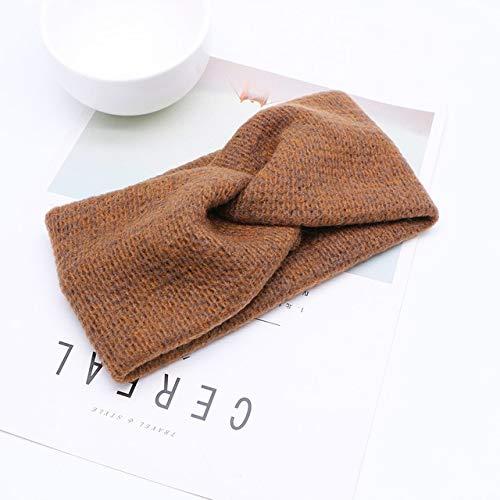 Bandas elásticas para el pelo con cruz de lana y nudos cruzados, para mujeres y niñas, color marrón