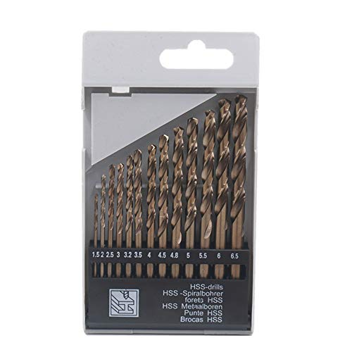 13Pack HSS Twist Drill Bit Set Metric M35 Cobalt Steel High Speed Steel Titanium Coated Drill Bit Tool Extremely Heat Resistant with Straight Shank 1.5mm-6.5mm for Drilling Tool Wood, Metal & Plastic