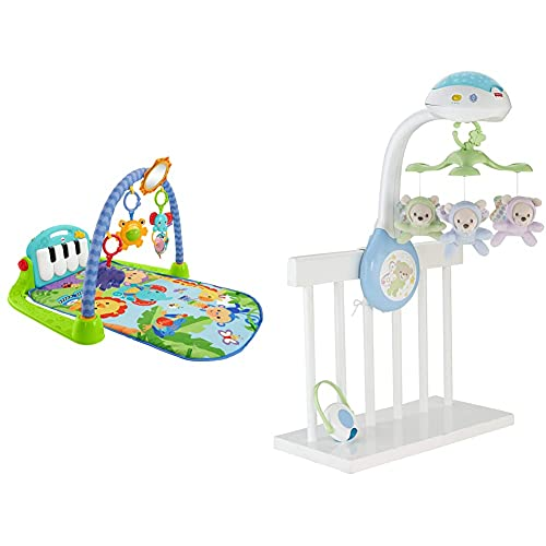 Fisher-Price Rainforest Piano-Gym - Manta de Juego parBebé (Mattel BMH49) + Móvil ositos voladores, juguete de cuna proyector para bebé (Mattel CDN41)