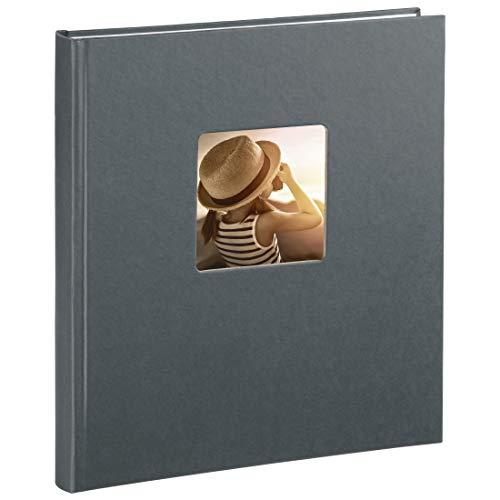 Hama Fotoalbum Fine Art, 29 x 32 cm, 50 Seiten, 25 Blatt, mit Ausschnitt für Bildeinschub, grau