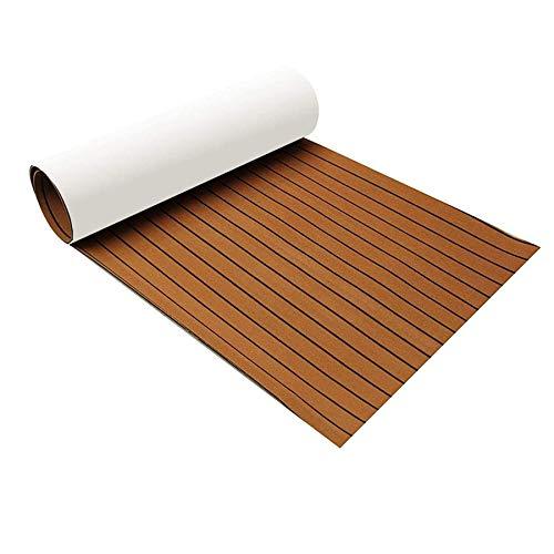 Zeeos EVA Foam Teak Decking Floor SheetNonSkidSelfAdhesive Flooring Synthetic Deck Marine Yacht RV Boat Flooring MatsTeak with Black line945#039#039x36#039#039