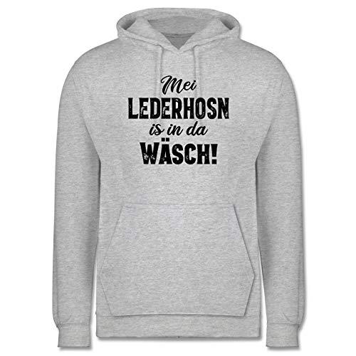 Shirtracer Oktoberfest & Wiesn Herren - MEI Lederhosn is in da Wäsch! - schwarz - 5XL - Grau meliert - MEI Lederhose is in da wäsch - JH001 - Herren Hoodie und Kapuzenpullover für Männer