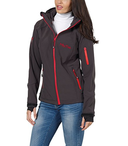 Fifty Five Damen Softshelljacke Outdoorjacke Merrit, Grau (Anthracite/Red 005), 48
