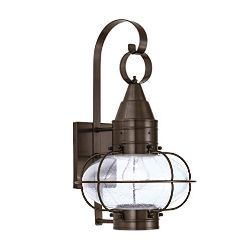 Norwell Lighting 1512-BR-SE Classic Onion - One Light Outdoor Medium Wall Mount, Glass Options: Seedy Glass, Choose Finish: BR: Bronze