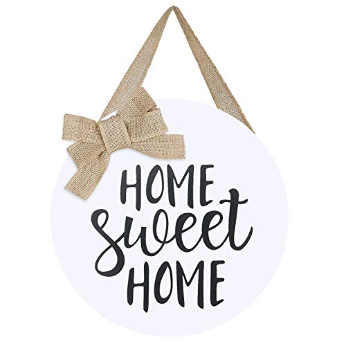 LEJHOME Home Sweet Home Sign Front Door - Wood Welcome Wreaths Sign for Rustic Farmhouse Decorations...