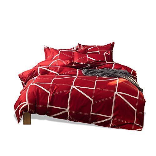 Fashion·LIFE Funda de Edredón Ropa de Cama Juego de edredón Estampado Geométrico Funda Nórdica Antiarrugas con 4*Fundas de Almohada,completos 200x230cm Rojo