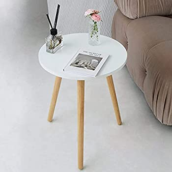 AWASEN Side Table Round Small Side Table Nightstand Accent End Table for Living Room Bedroom Office Small Spaces 16  D x 19.5  H  White