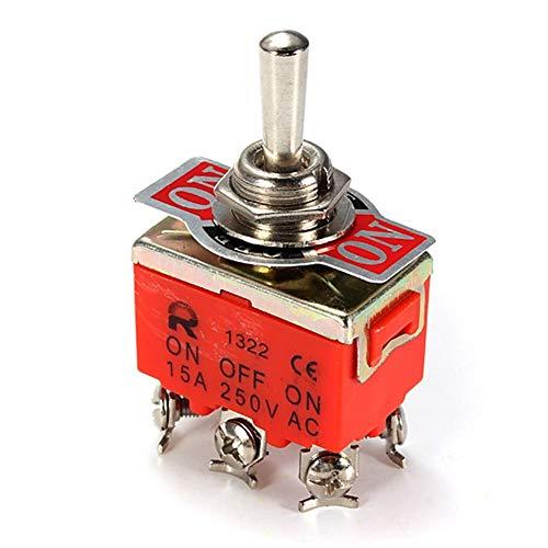 Interruptor 15A 250V coche de palanca DPDT ON-OFF Auto Parts 6-Pin interruptor del coche