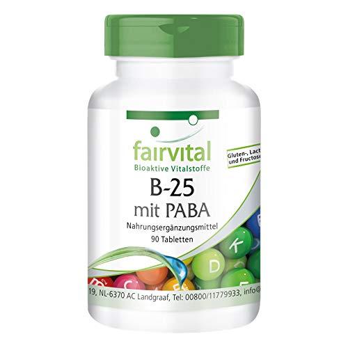 Vitamina B Complex - B-25 con PABA - Complejo de Vitamina B + Colina, Inositol y PABA (Ácido para-aminobenzoico) - VEGANO - Dosis elevada - 90 Comprimidos - Calidad Alemana
