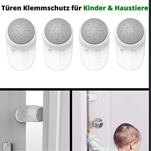 Türstopper für Kinder und Haustiere, zum Kleben, 4er Pack, Einklemmschutz An- und Ausstellbar, für eine langfristige Benutzung, Fingerklemmschutz für Türen und Fenster, Kindersicherung für Türen