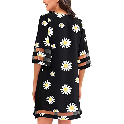 Lalaluka Vestido de verano para mujer, con mangas, elegante estampado de flores, cuello en V, holgado, para la playa, estilo bohemio, para el tiempo libre, túnica Negro S