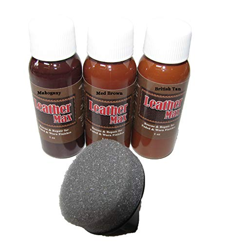 Leather Max Quick Blend Refinish and Repair Kit, Restore Couches, Recolor Furniture & Repair Car Seats, Jackets, Sofa, Boots / 3 Color Shades to Blend with/Leather Vinyl Bonded and More (Earth Browns)