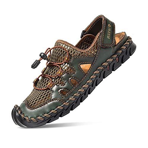 Sandalias para Hombre, Cuero Pescador Playa Punta Cerrada Hecho a Mano Transpirable Al Aire Libre Antideslizante Caminar Anticolisión Confort Senderismo Zapatillas Deportivas Zapatos Verde 43 EU