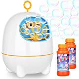 BATTOP Bubble Machine for Kids and Toddlers Automatic Bubble Maker Blower with Bubbles Solutions and 2 Bubbles Blowing Speed Levels for Parties Outdoor Indoor