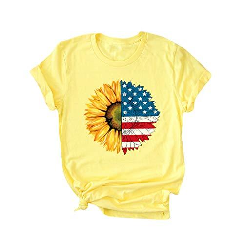 YBWZH Damen T-Shirt mit Flaggenmuster Lässige Top Bluse Sommer Rundhals Oberteile kurzärmelig Trägershirt Blusen Slip Sommer Strand Tank Tunika Blusentop Kleidung