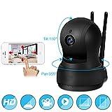 Cámara domo Pan tilt zoom inalámbrico Sistema de seguridad IP para interiores Vista nocturna de 720p HD, rastreador de movimiento, monitor remoto con IOS Android para cuidador de mascotas, negro