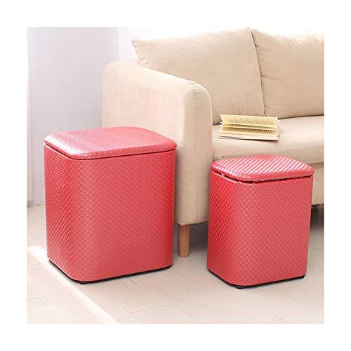GUOQING Reposapiés Ideal Toy Box Puff Baúl Taburete Asiento Otomana,Almacenamiento Zapatero con Asiento Asiento Tapizado De Lino Taburete de Almacenamiento (Color : Red, Size : 38x25x31cm)