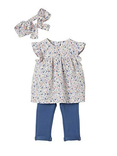 Vertbaudet Baby Mädchen-Set: Bluse, Treggings und Haarband weiß geblümt+blau 92