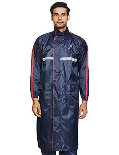 Amazon Brand – Symactive Water Resistant Polyester Long Rain Coat, Blue, X-Large