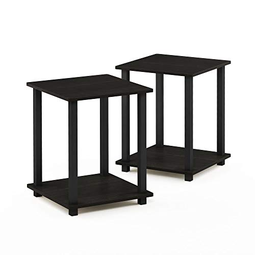 FURINNO End Table, Wood, Espresso/Black, Set of 2