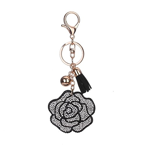 BCDshop Roses Keychain Rhinestone Tassel Key Chain Car Key Bag Handbag Key Ring Pendant Charm Gift (White)