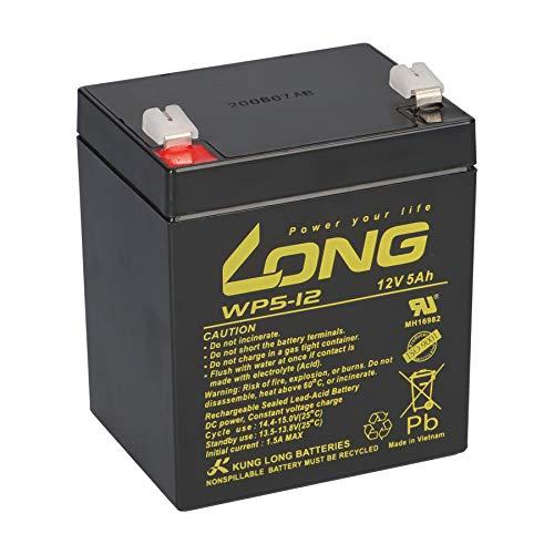 Batterie longue au plomb 12 V 5 Ah WP5-12 Faston 6,3 mm compatible 4 Ah 4,5 Ah 5 Ah UV Alarme de secours