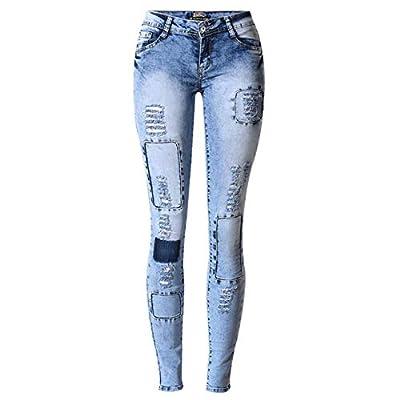 HOSDRipped Jeans for Women Holes Skinny Jeans Slim Femme Womens Jeans Elastic Patchwork Blue from HOSD