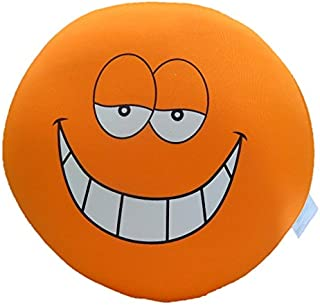Tache Home Fashion Crazy Face Decorative Round Squishy Soft Microbead Emoji Smiley Toss Throw Pillow, 13