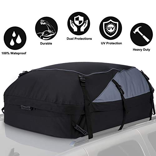 Sailnovo Car Roof Bag, Folding Roof Top Box Storage Bag Waterproof Roofing Rack Bag for Travel and Luggage Transport, Cars, Vans, SUVs, Black (580L/600D)