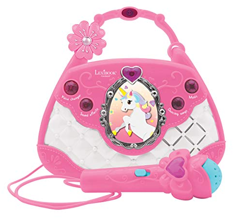Lexibook K102UNI Einhorn Karaoke-Tasche, Voice Changer-Funktion, Demo-Songs, Lichteffekte, Mikrofon mitgeliefert, Audiokabel-Stecker, Pink/Blau