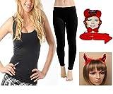 FashioN HuB Leggings para mujer, falda tutú, chaleco con diadema, juego de diablo, disfraz de ratón para mujer (disfraz de diablo con leggings pequeño/mediano)