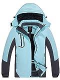 Wantdo Women's Waterproof Ski Jacket Winter Snowboard Hood Jacket Pale Blue M