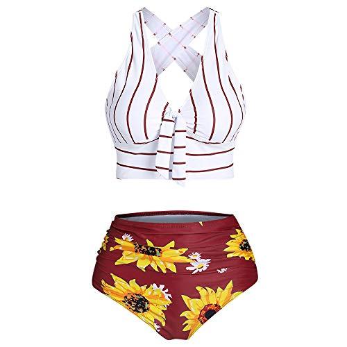 JMSUN - Bikini con control de barriga, diseño de girasol, a rayas Rojo Vino Tinto 52