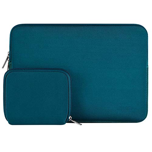 MOSISO Laptop Sleeve Compatible with MacBook Pro 15 inch Touch Bar A1990 A1707, Dell XPS 15,ThinkPad X1 Yoga (1-4th Gen),Surface Laptop 3 15, Water Repellent Neoprene Bag with Small Case, Deep Teal