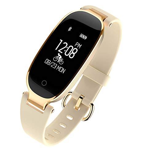 MTSBW Rastreador de la Aptitud del Reloj del Ritmo cardíaco del Reloj de la Moda del Reloj Elegante para el Reloj Digital Elegante Impermeable IP67 Compatible con el Dispositivo iOS de Android,Gold