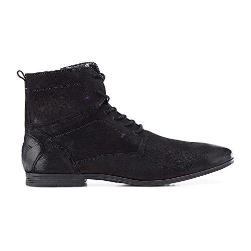 Cox Herren Schnür-Boots aus Nubuk-Leder, schwarzer Freizeit Stiefel mit robuster Laufsohle Schwarz Leder 43