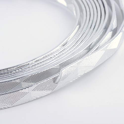 UR URLIFEHALL 5x1mm Zilver Plat Aluminium Draad 18 Gauge Brede Metalen Artistieke Draad voor DIY Sculptuur en Ambachten Sieraden maken, 1 Rol, Elke Roll 32 Voet