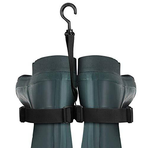 Flurries Fishing Wader Boot Dryer Hanger - Shoe Strap Belt Drying Rack - Muti-Function Adjustable Wader Storage Rack (Black)