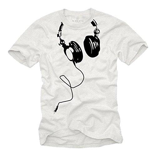 Camiseta con Auriculares Hombre DJ Beats Blancas L