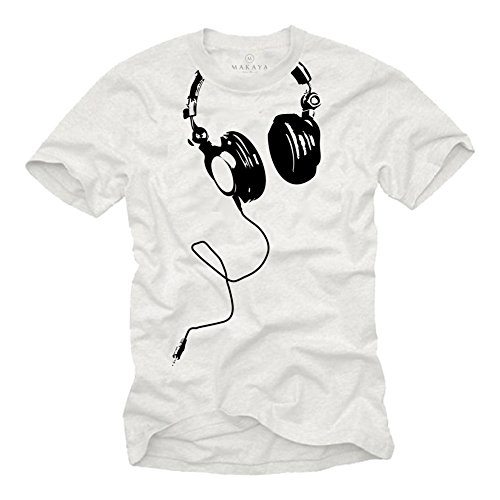Camiseta con Auriculares Hombre DJ Beats Blancas M