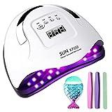 Lámpara de uñas 180W Profesional Secador de Uñas LED UV, 5 modos para tiempo, 99s Modo de calor bajo y Pantalla LCD para Manicura y Pedicura